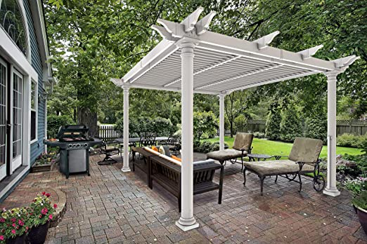 Nueva Inglaterra Preston Louvered Pergola, Blanco, 10 x 10 ...