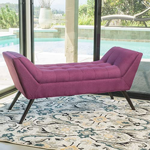 Christopher Knight Home Living Burdett Tufted Fabric Ottoman Bench Purple , Deep