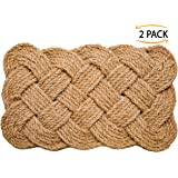 Iron Gate - Natural Jute Rope Woven Doormat 18x30 - 2 Pack - 100% All Natural Fibers - Eco-friendly - Classic Interwoven Rope Design