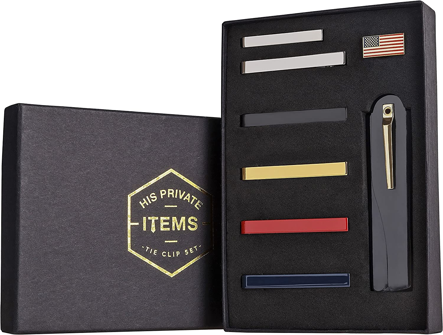 His Private Items Tie Bar Clip Set for Men -[6 Pc]- Pinch/Hold Skinny & Regular Ties - Gift Box