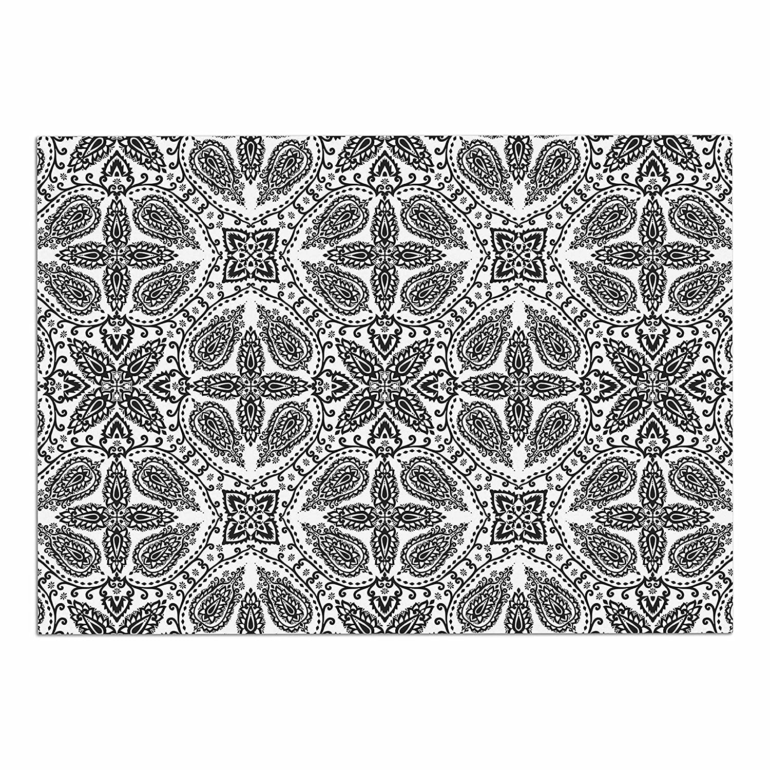 KESS InHouse Nandita Singh Boho in Black & White  Grey Pattern Dog Place Mat, 13  x 18