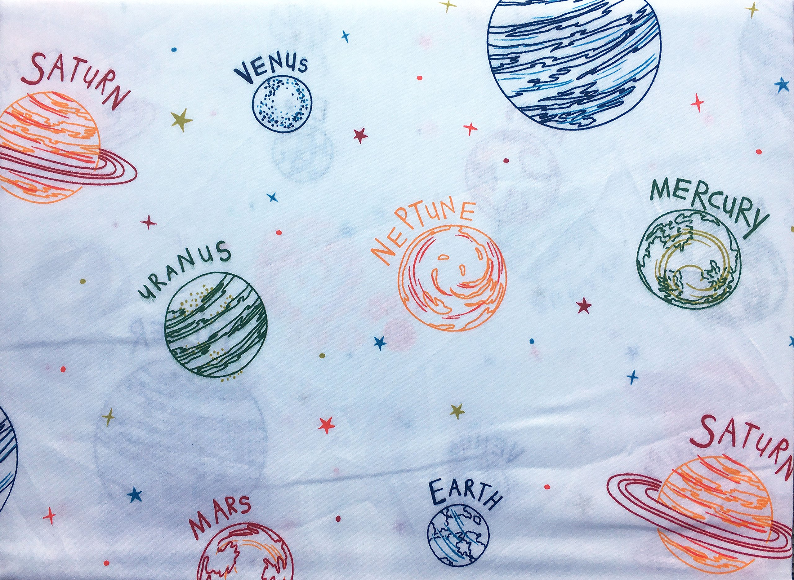 Kids Sheet Set Planets Solar System 3 Piece Twin Size Single Bed Authentic Kids Blue Green Orange Red Yellow White