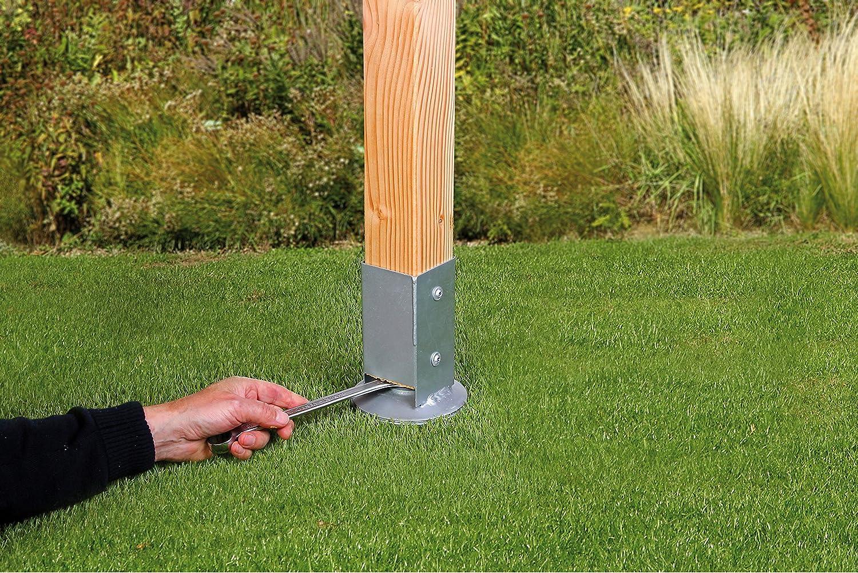Ancora a pressione per lavello con superficie galvanizzata a caldo per supporti in legno quadrato 91 x 91//750 mm GAH-Alberts