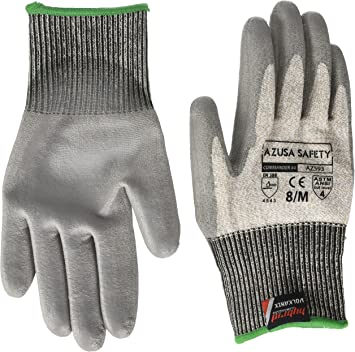 Azusa Safety AZNBR-009 13 gauge HPPE Cut Resistant Gray Work Glove 1 Pair Black Textured Micro foam Nitrile Coating Large