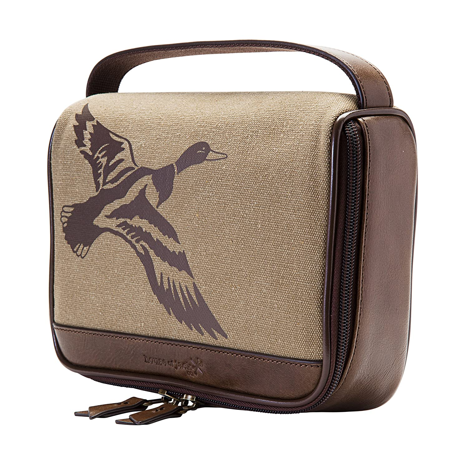 HOJ CO. Duck Zip Around Toiletry Bag – Canvas Leather Men s Dopp Kit – Toiletry Organizer