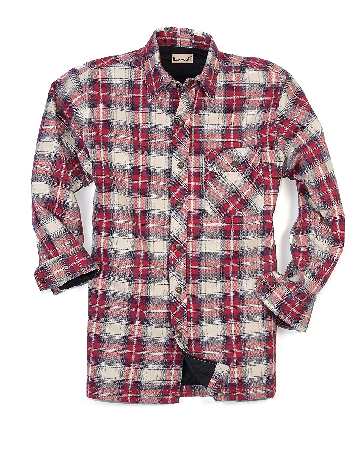 Amazon.com: Backpacker Men's Flannel/Quilt Lined Shirt Jacket ...