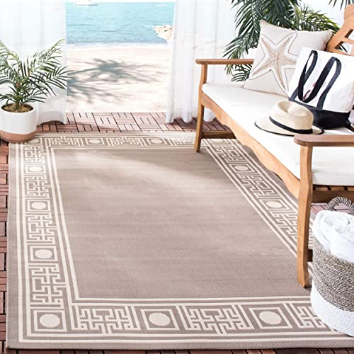 Safavieh Courtyard Collection CY5143B Dark Beige and Beige Indoor Outdoor Area Rug 6 7 x 9 6
