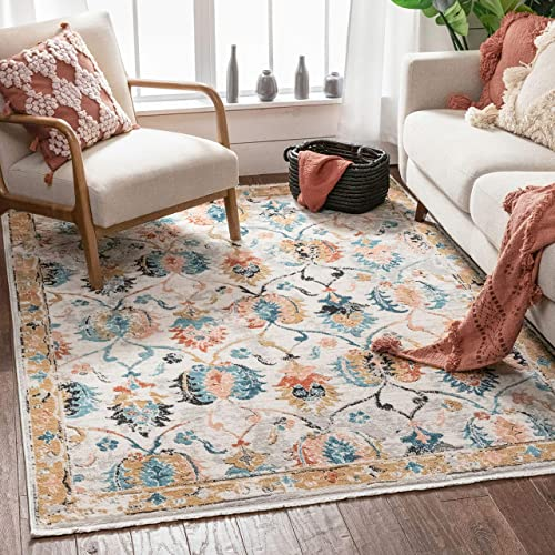 Well Woven Evi Beige Blue Gold Vintage Oriental Distressed Pattern Boho Area Rug 8×10 7 10 x 9 10