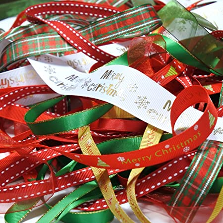 15 METRES XMAS ROLL ENDS /& OFFCUTS SPARKLY RIBBON BUNDLE