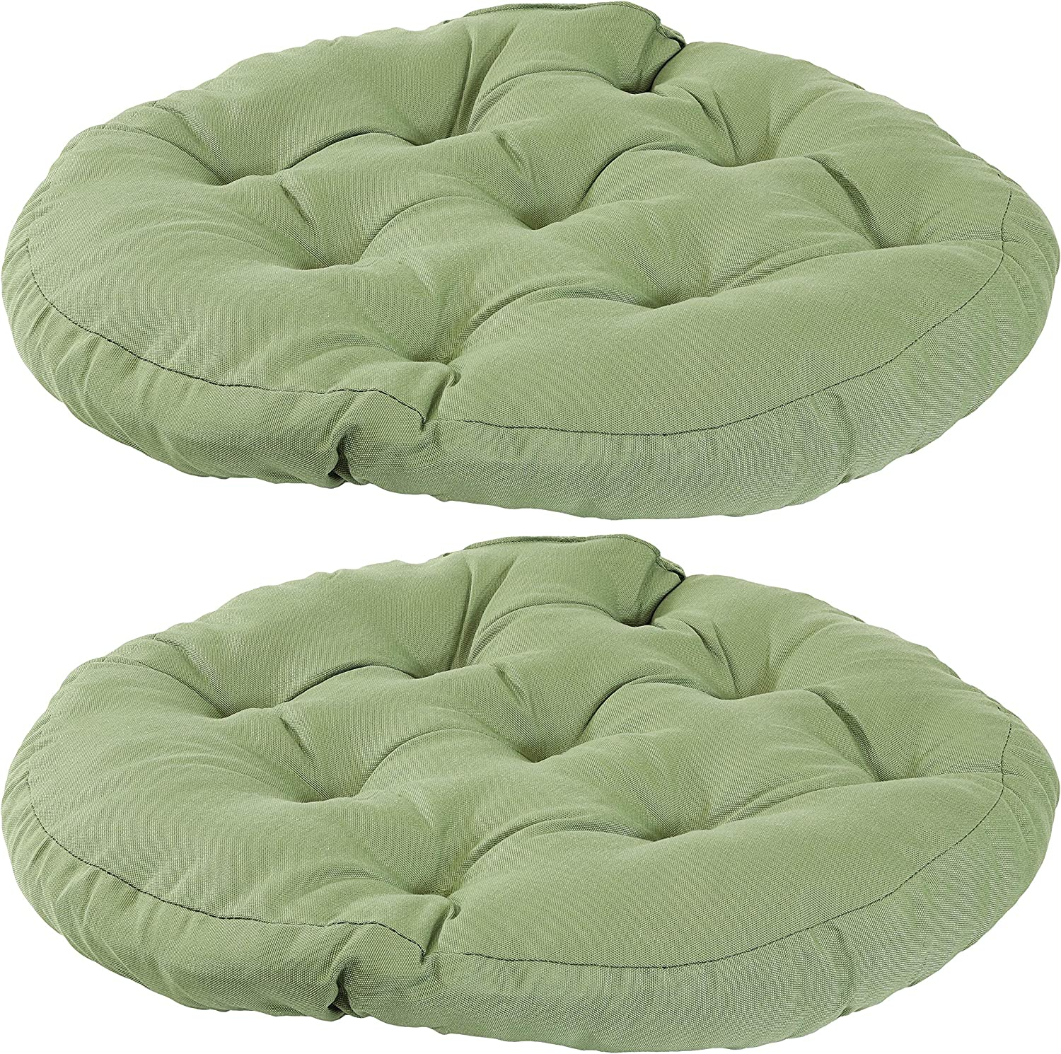 Sunnydaze Tufted Large Round Floor Cushion - Set of 2 - Unique Outdoor/Indoor Chair Cushions or Meditation Cushions - 300D Olefin with Polyester Fill - 22-Inch Diameter - Green