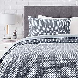AmazonBasics Super-Soft Cotton Duvet Comforter Cover Set - Twin Blue Geo