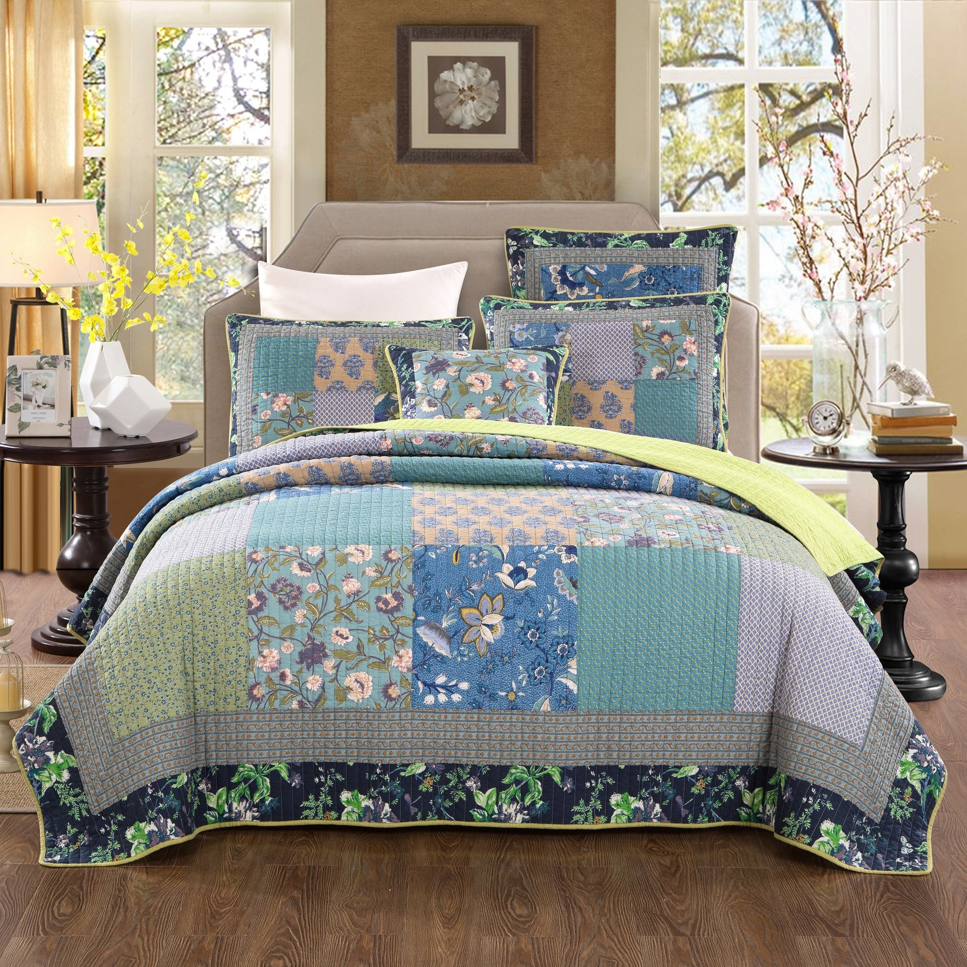 Tache Home Fashion Bohemian Tropical Calla Lily Patchwork Quilted Coverlet Bedspread Set - Bright Vibrant Multi Colorful Navy Blue Green Yellow Floral Print - King - 3-Pieces