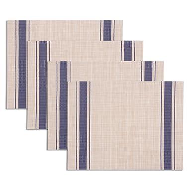 KAF Home Set of 4 Farmhouse Stripe Placemats | Stain Resistant, Anti-Skid, Easycare Wipe Clean, Woven Vinyl PVC Table Mats (Blue)