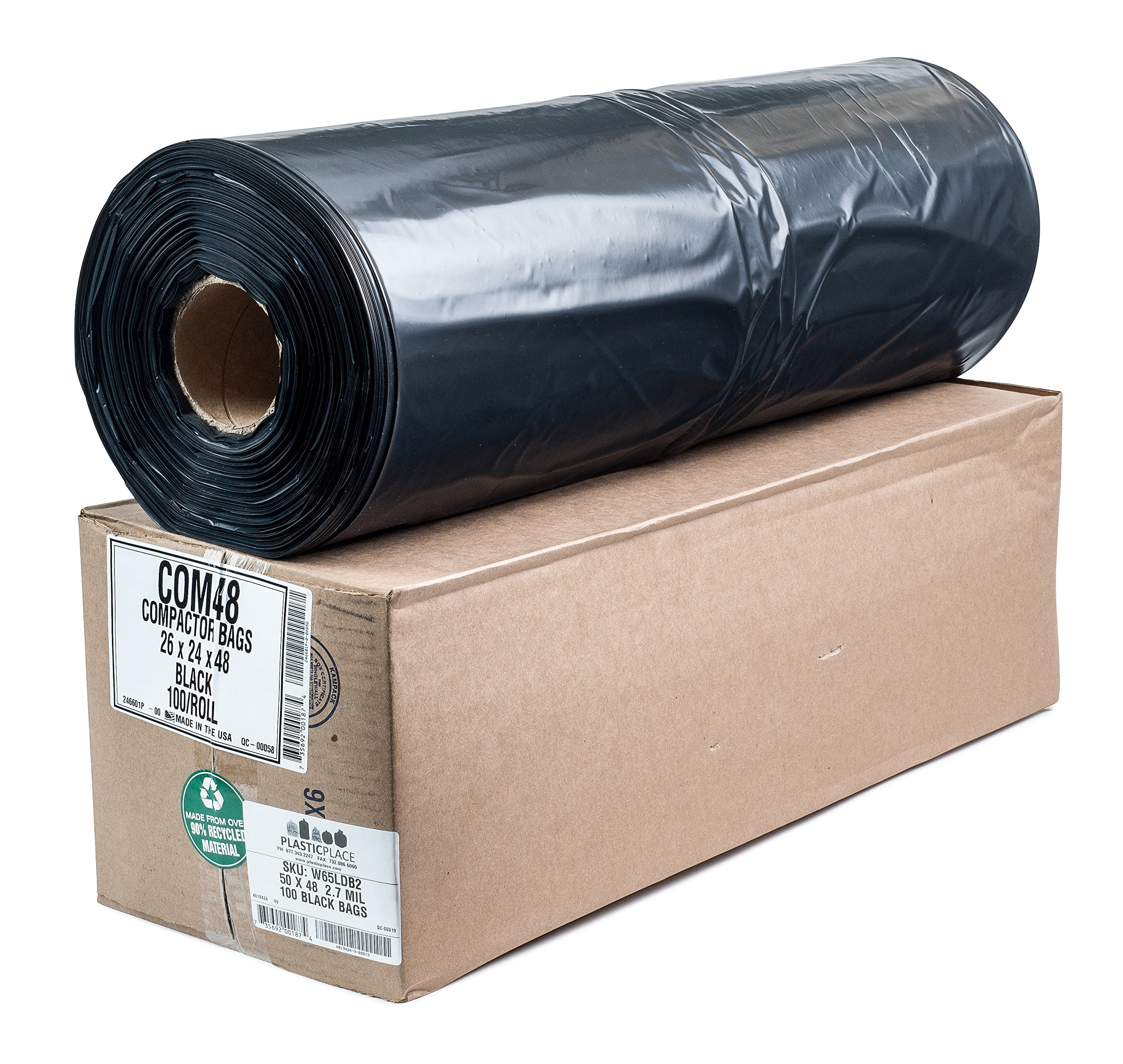 Plasticplace Compactor Bags, Black, 65 Gallon, 50x48,100/roll