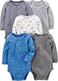 Simple Joys by Carter's 5-Pack Long-Sleeve Bodysuit Bebé-Niños, Pack de 5