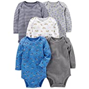 Simple Joys by Carter's Baby Boys 5-Pack Long-Sleeve Bodysuit, Blue/Grey, 0-3 Months