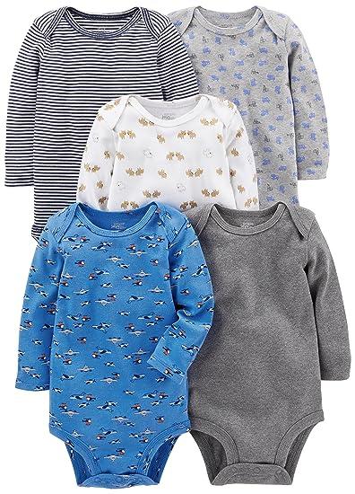 9f0f4b912 Simple Joys by Carter's Baby Boys 5-Pack Long-Sleeve Bodysuit, Blue/