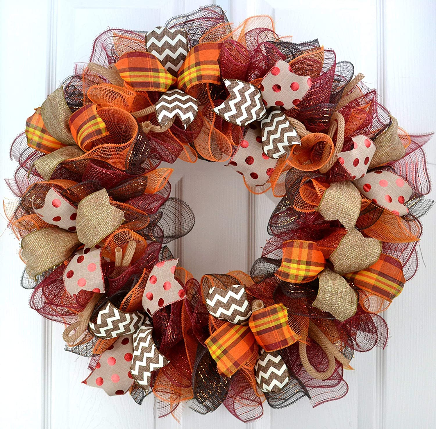 Amazon Com Fall Wreaths Maroon Orange Fall Thanksgiving Burlap