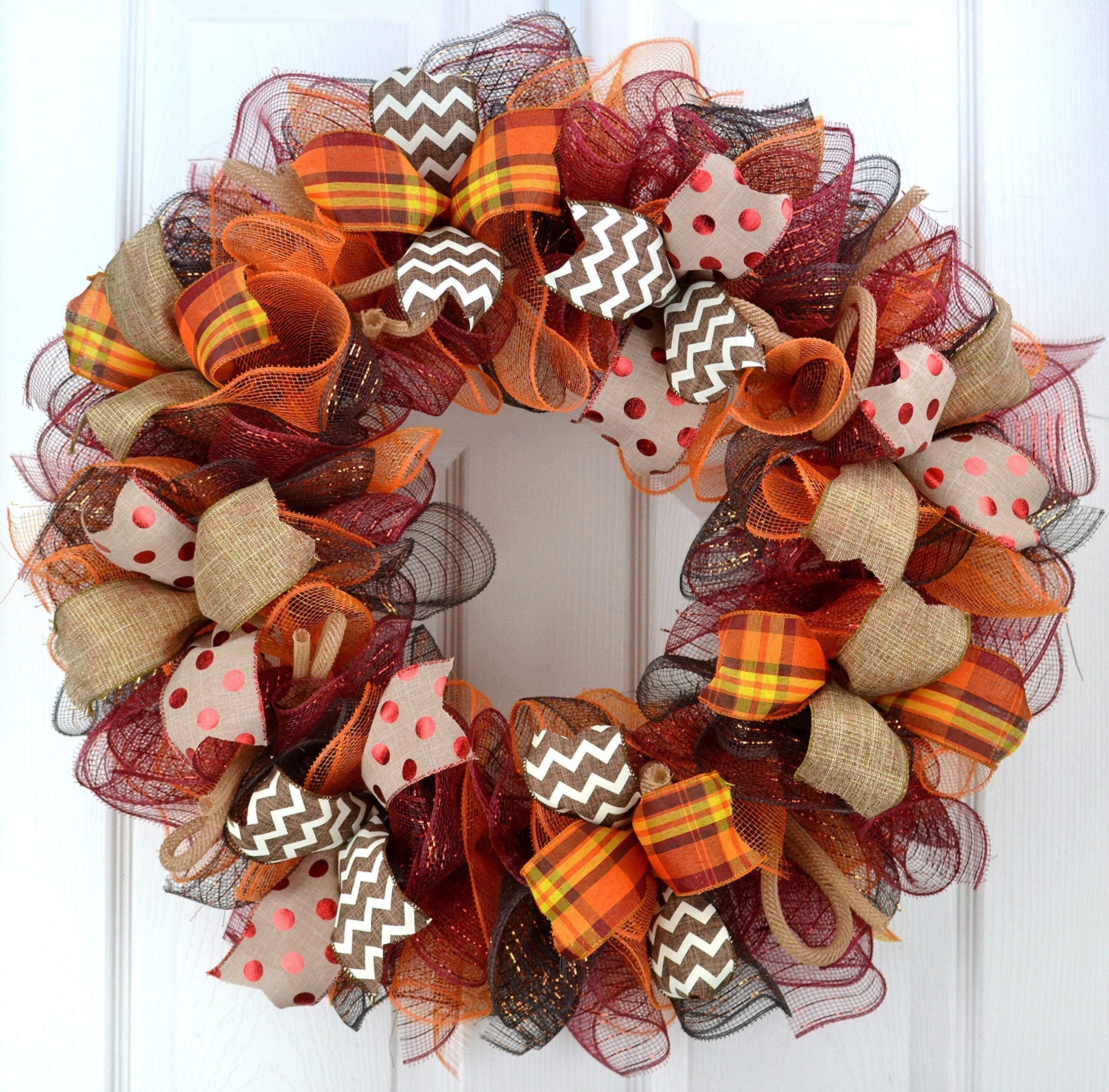 Fall Wreaths | Maroon Orange Fall Thanksgiving Burlap Deco Mesh Door Wreath; Yellow White Red : F2 by Pink Door Wreaths