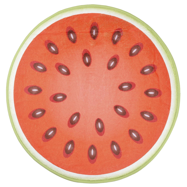"""ChezMax Round Non-slip Doormat Coral Fleece Indoor Outdoor Kitchen Floor Rug Front Door Mat Funny Flannel Carpet Watermelon 21.65"""" X 21.65"""""""
