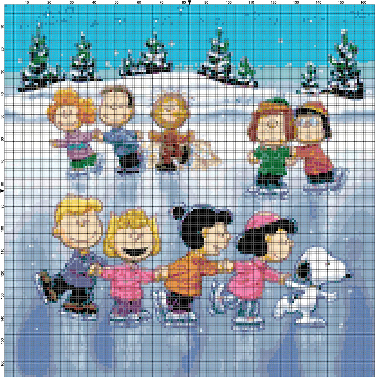 Boston Needleworks Peanuts Gang Skating on The Pond Counted Cross Stitch Pattern