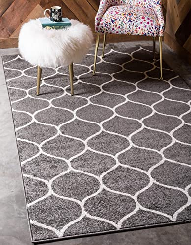 Unique Loom Trellis Frieze Collection Lattice Moroccan Geometric Modern Dark Gray Area Rug 4' 0 x 6' 0