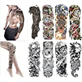 Fashion Temporary Tattoo Transfer Stickers - 8 Sheets Full Arm Size Tattoo Body Stickers for Man & Women Waterproof Removeable Non-Toxics & Safe for All Skin