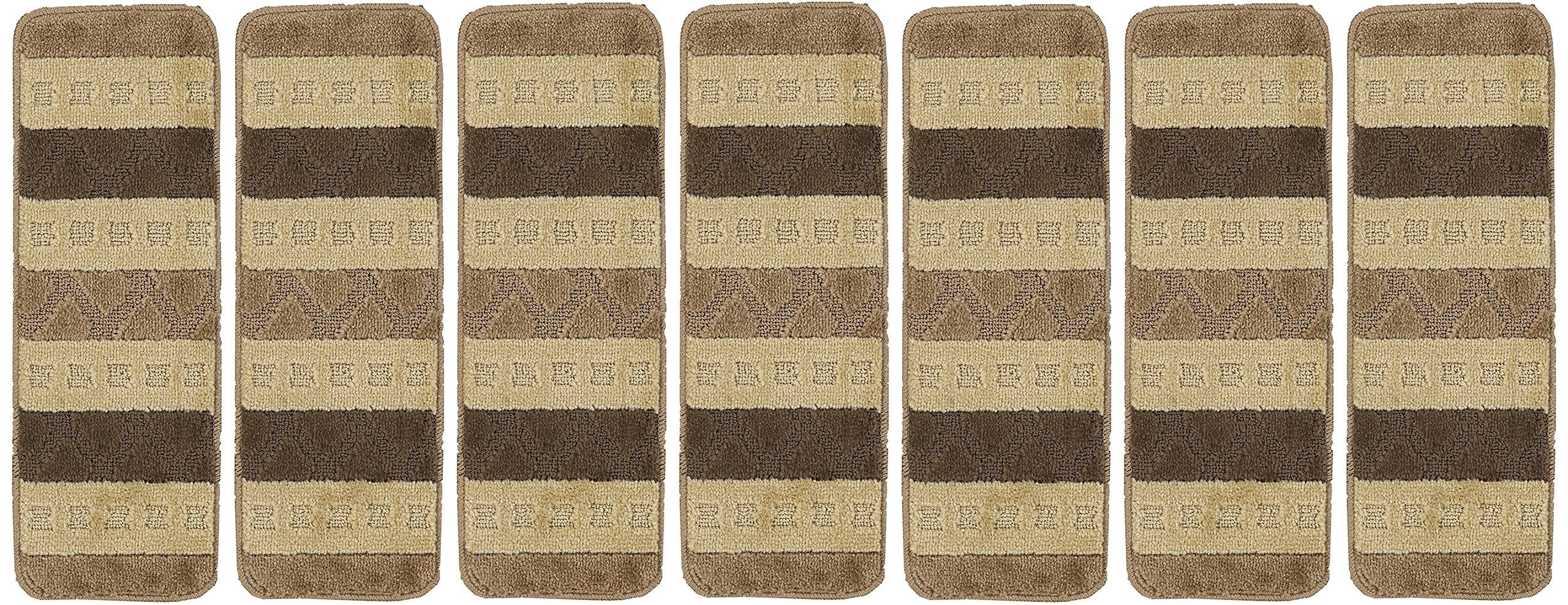 Ottomanson Softy Stair Treads Brown Striped Design Skid Resistant Rubber Backing Non Slip Carpet (9''x26'') Stair Tread Mats 7 Piece Set