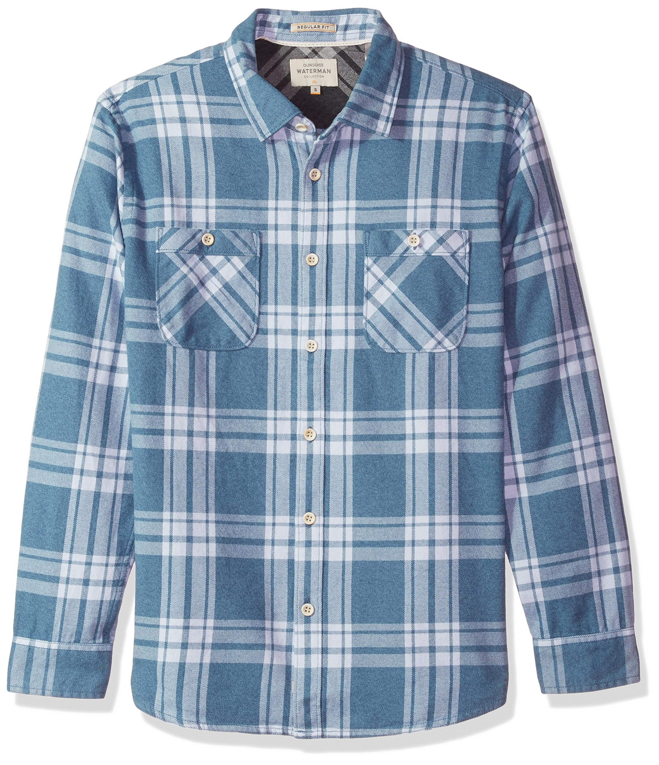 Quiksilver Waterman Men's Moon Tides Flannel Shirt, Ensign Blue Moon Tides, M