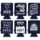 Kenley Funny Can Beer Cooler - Cans Drink Beverage Soda Bottle Ice Cold Insulator - Party Funny Joke Gag Gift Set - Pack of 6