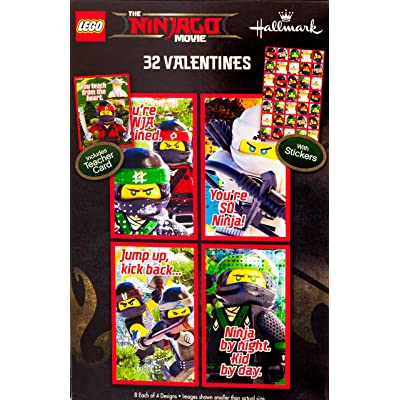 Lego Ninjago Movie Classroom Valentines Day Cards 32 Stickers Lloyd Teacher Card: Office Products