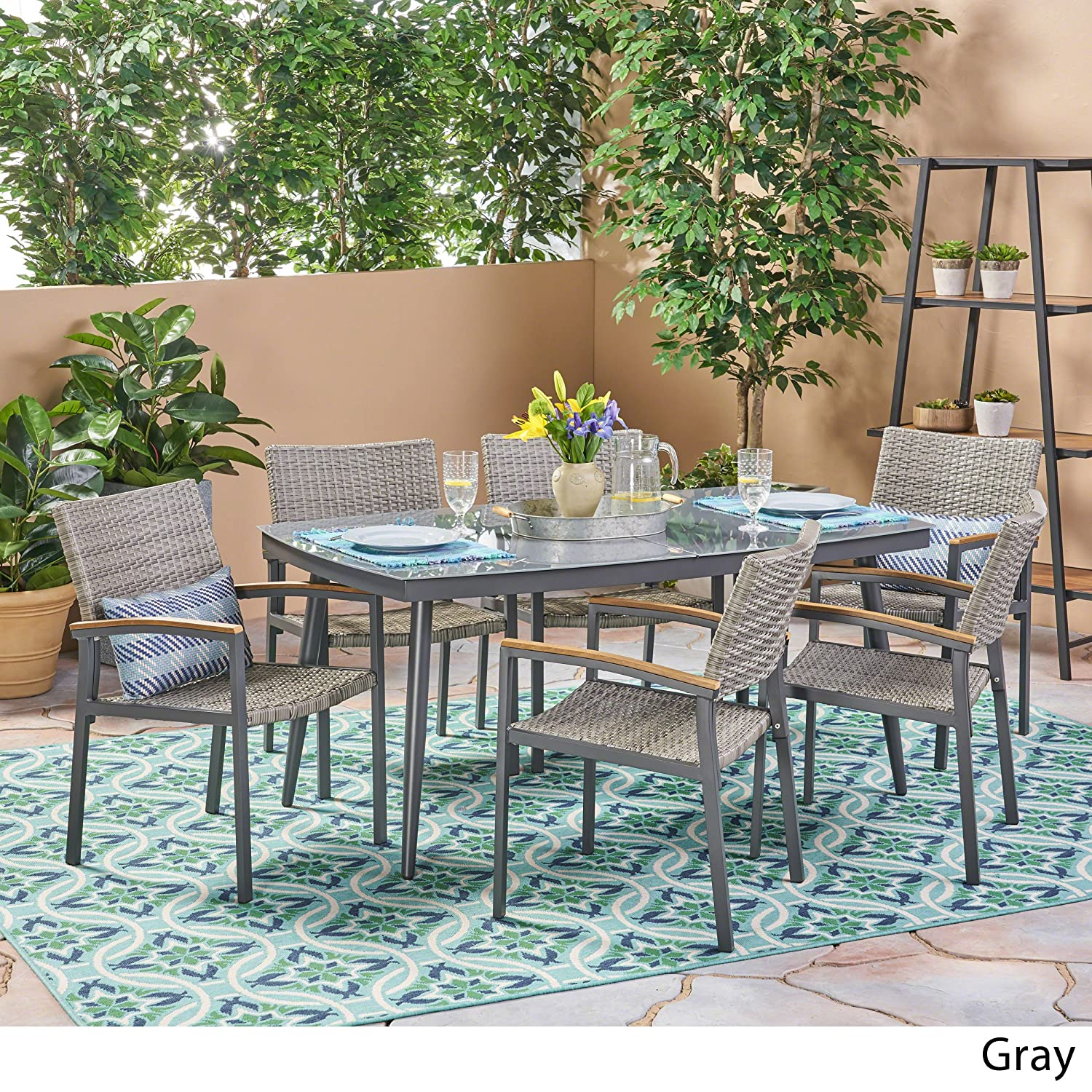 Amazon com great deal furniture lily outdoor aluminum and wicker 7 piece dining set with tempered glass top gray garden outdoor