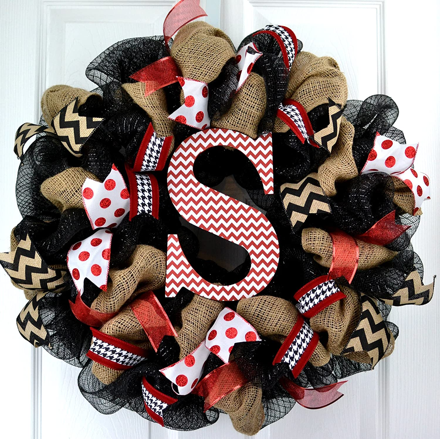 Burlap Monogram Letter Initial Mesh Outdoor Front Door Wreath; Black Red White Chevron