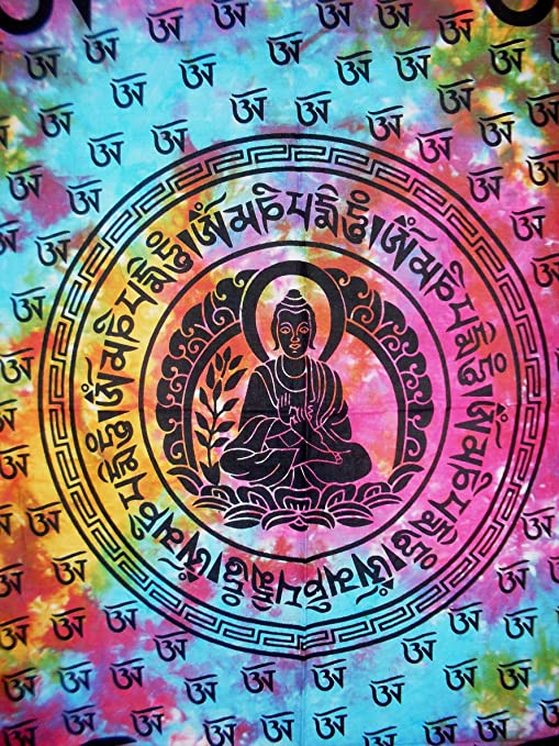 Traditional Jaipur Tie Dye Lord Buddha Poster Bohemian Wall Hanging Boho Wall Art Hippie Tapestry Gypsy Dorm Room Decorations Size 30x40 Good Luck Poster or Wall Sticker Indian Wall Decor