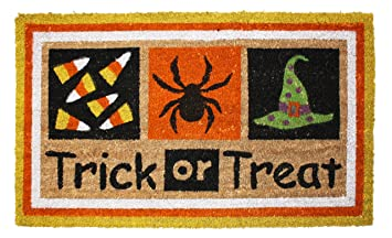j m home fashions halloween trick or treat vinyl back coco doormat 18 by - Halloween Rug