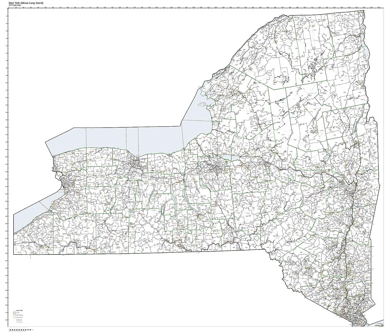 Amazon.com: ZIP Code Map State of New York Minus Long Island ... on