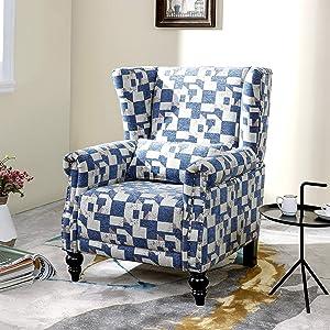 LOKATSE HOME Fabric Arm Chair Modern Single Sofa for Living Room, White/Blue Pattern