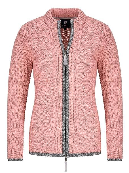 Almbock Strickjacke Damen Reissverschluss Hochwertige Trachtenjacke Damen Trachtenstrickjacke aus feiner Wolle in vielen Farben von Gr. S XXL