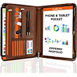 Wundermax Portfolio Binders for Women & Men - 10 Inch Leather Padfolio Business Planner & Notebook Organizer w/Zipper - Hold