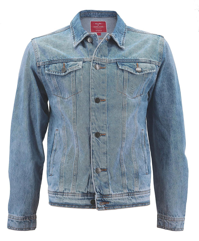Men's Red Label Premium Faded Denim Cotton Jean Button Up  Slim Fit Jacket