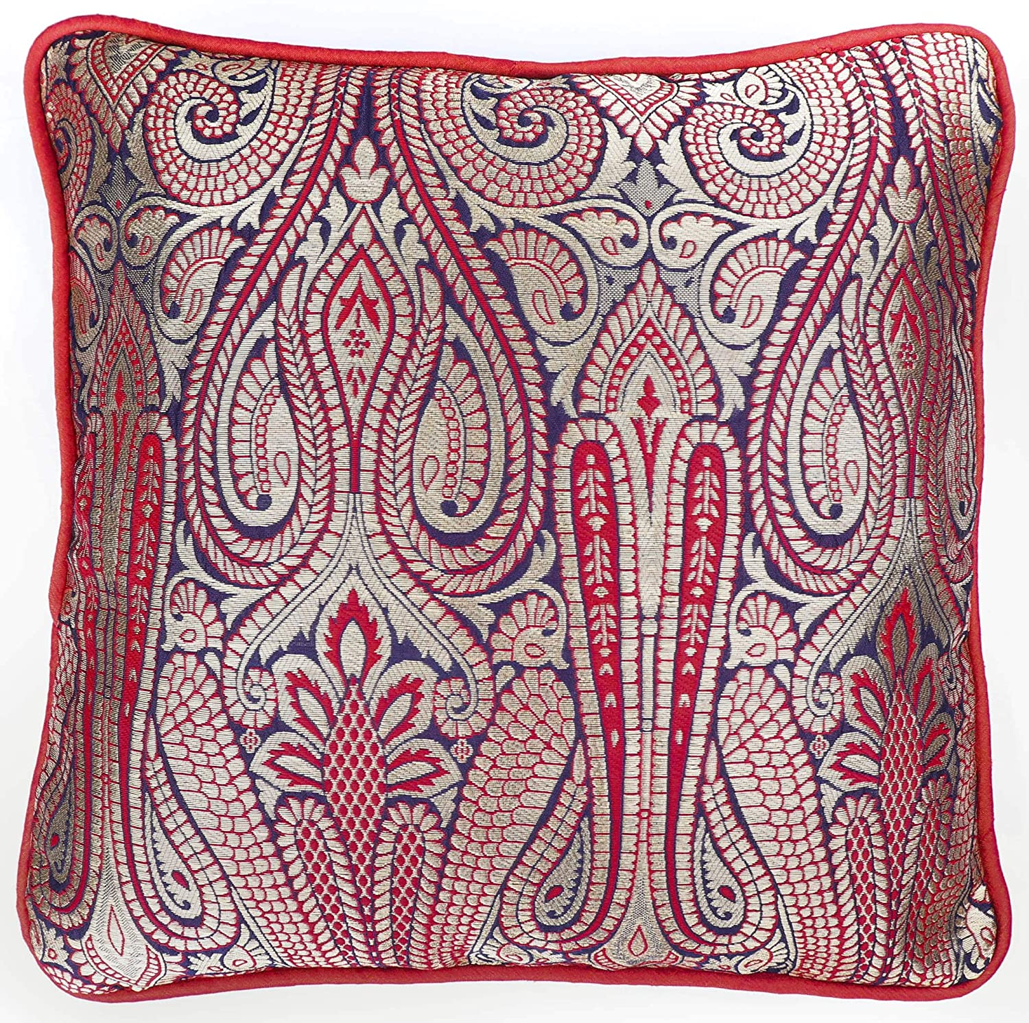 Buy AINOS Red Blue and Gold Brocade Cushion Cover(12 by 12 inches) Online  at Low Prices in India - Amazon.in