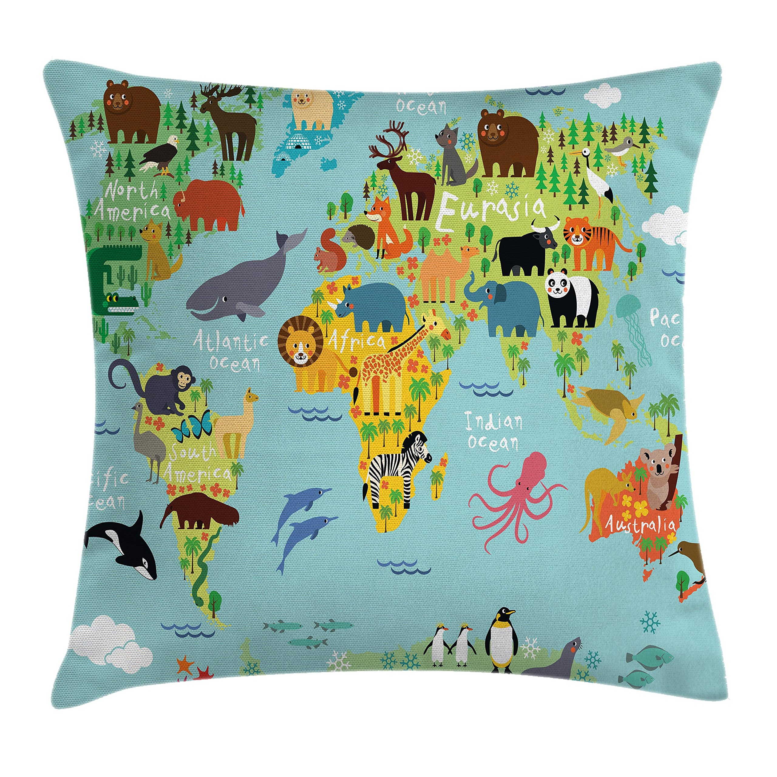 Ambesonne Wanderlust Throw Pillow Cushion Cover, Animal Map of the World for Children and Kids Cartoon Mountains Forests, Decorative Square Accent Pillow Case, 24 X 24 Inches, Aqua Blue and White