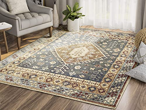 Floral Geometric Southwestern Area Rug, Mesa Collection Distressed Blue, Grey, Red, Yellow 7 9 x 10 2 Accent Rug – Abani Rugs