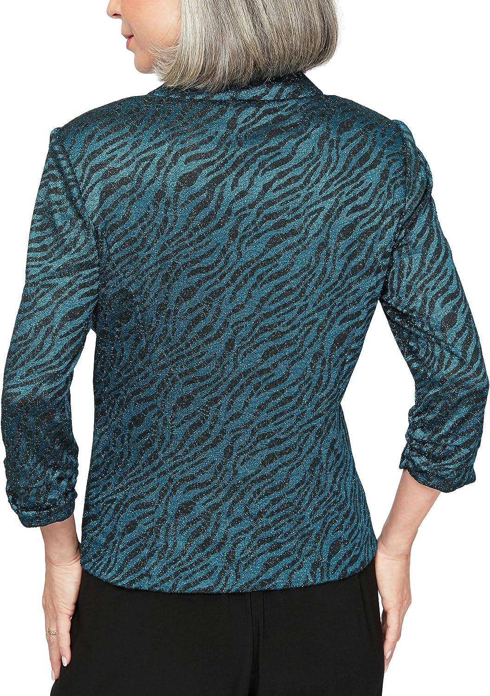 Alex Evenings Women's Jacket and Scoop Tank Top Twinset (Petite and Regular Sizes) Blouse Black/Peacock Zebra Print