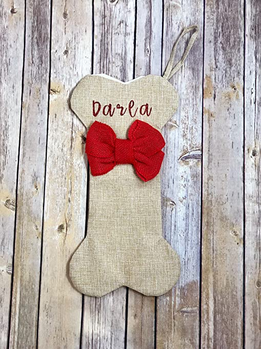 d791571e1225 Pucci pet Apparel Personalized Large Dog Bone Christmas/Holiday Stockings  with Name - Natural Burlap