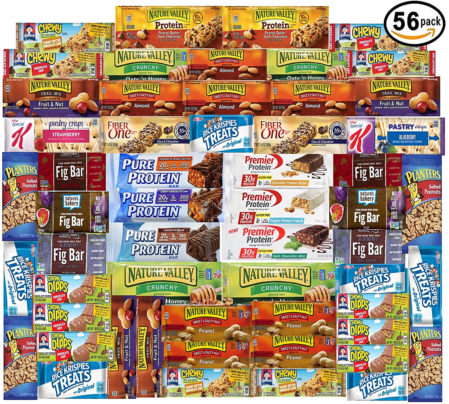 Ultimate Healthy Fitness Box - Protein & Healthy Granola Bars Sampler Snack  Box (56 Count) - Care