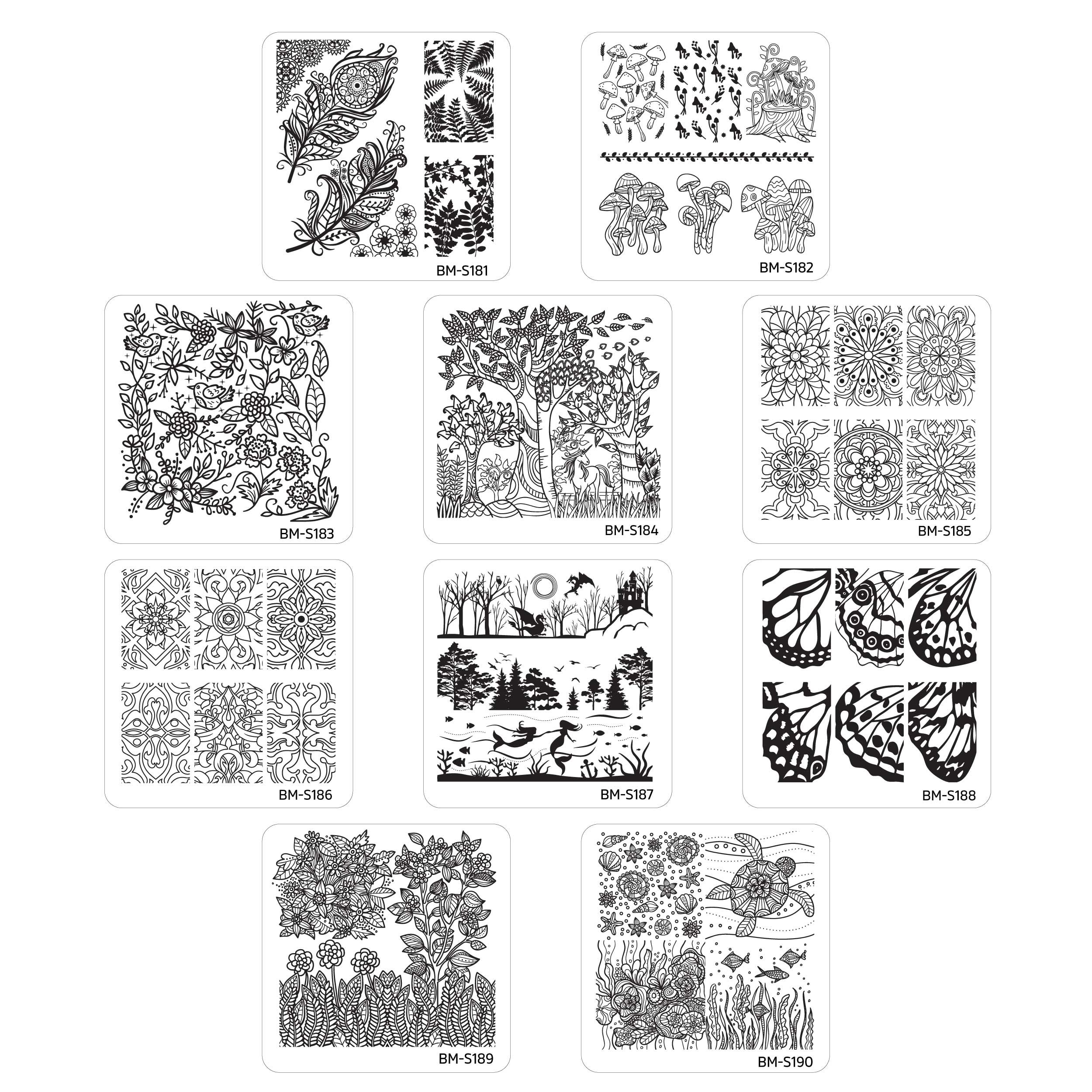 Bundle Monster 10pc Nature Themed Nail Art Stamp Plates - Mystic Woods, Set 2