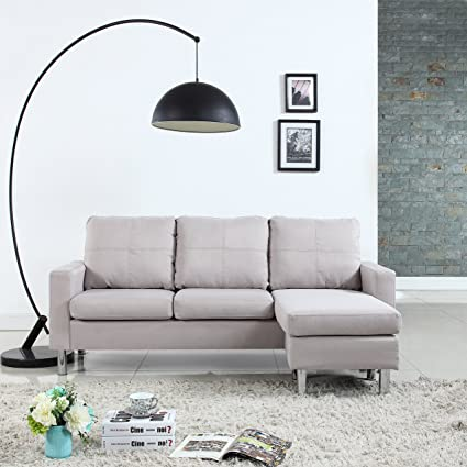 Amazon.com: Moderne Livinf Reversible Linen Fabric Sectional Sofa ...