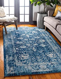 Unique Loom Oslo Traditional Botanical Area Rug, 6 x 9 Feet, Navy Blue/Turquoise
