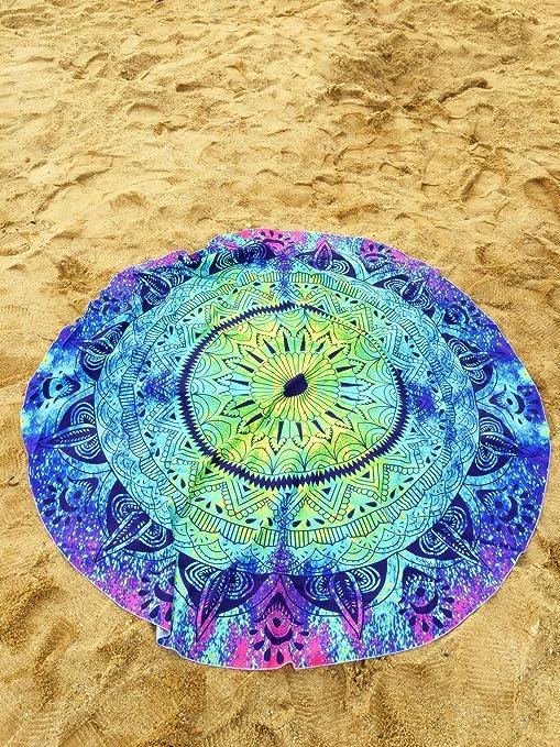 yamuda Mandala redonda poliéster mantel toalla de playa, diseño de playa manta, indio Mandala